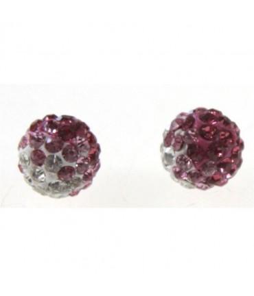 Perles shamballa rondes bicolores dégradées 10 mm (5 pièces) - Rose
