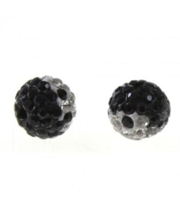 Perles shamballa rondes bicolores dégradées 10 mm (5 pièces) - Noir