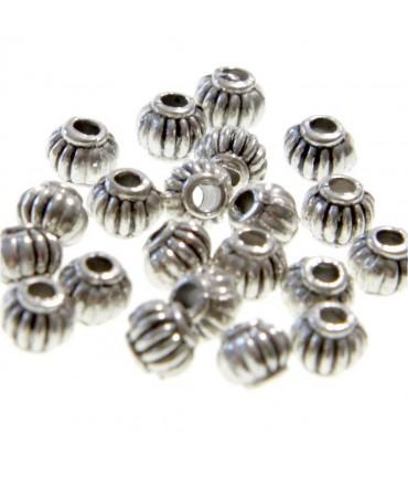 Perles metal Citrouille 5 x 4 mm (20 pièces) - Argenté