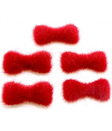 Nœud pour bijoux velours à coller (5 pièces) - Rouge