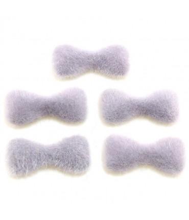 Nœud pour bijoux velours à coller (5 pièces) - Gris