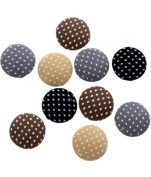 Bouton tissu pois à coller accessoire bijoux (10 pièces)