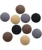 Bouton tissu pois à coller accessoire bijoux (10 pièces) - Multicolore