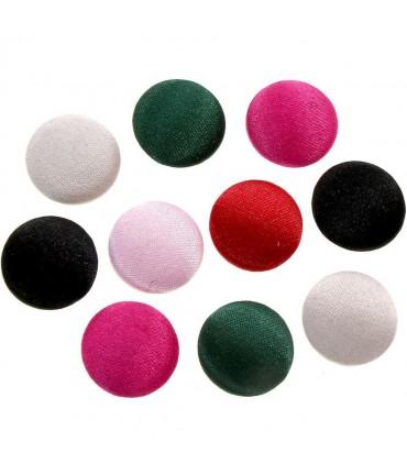 Bouton satin à coller forme ronde (10 pièces) - Multicolore