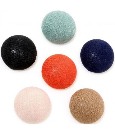 Bouton tissu à coller grand forme ronde (10 pièces) - Multicolore