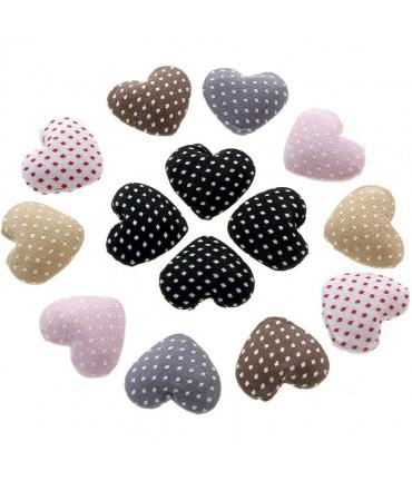 Bouton tissu cœur pois à coller apprêt bijoux (10 pièces) - Multicolore