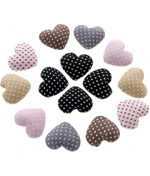 Bouton tissu cœur pois à coller apprêt bijoux (10 pièces)