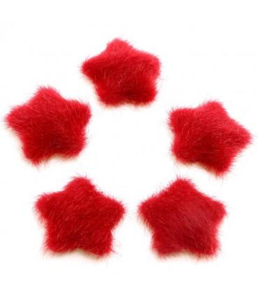 Bouton étoile velours à coller accessoire bijoux (5 pièces) - Rouge
