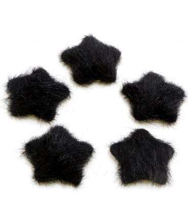 Bouton étoile velours à coller accessoire bijoux (5 pièces) - Noir