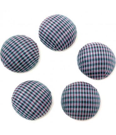 Bouton tissu carreaux à coller grand forme ronde (5 pièces) - Violet