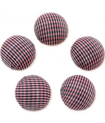 Bouton tissu carreaux à coller grand forme ronde (5 pièces) - Bordeaux