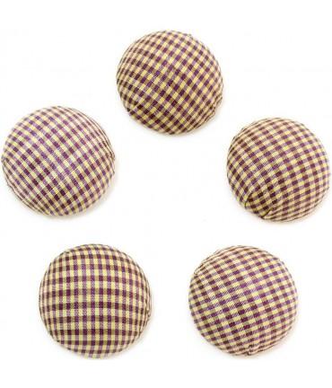 Bouton tissu carreaux à coller grand forme ronde (5 pièces) - Brun