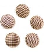 Bouton tissu carreaux à coller grand forme ronde (5 pièces)