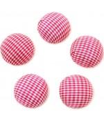 Bouton tissu carreaux à coller grand forme ronde (5 pièces) - Rouge