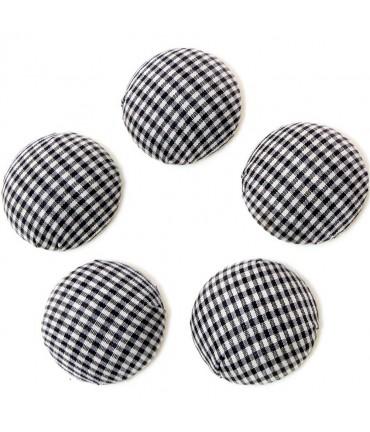 Bouton tissu carreaux à coller grand forme ronde (5 pièces) - Noir