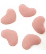 Bouton tissu cœur à coller accessoire bijoux (5 pièces) - Rose