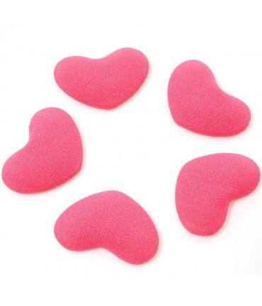Bouton tissu cœur à coller accessoire bijoux (5 pièces) - Rouge