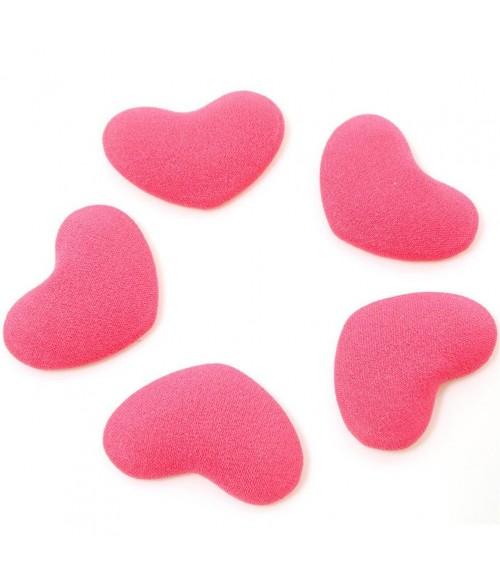 Bouton tissu cœur à coller accessoire bijoux (5 pièces)