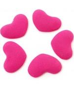 Bouton tissu cœur à coller accessoire bijoux (5 pièces) - Rose vif