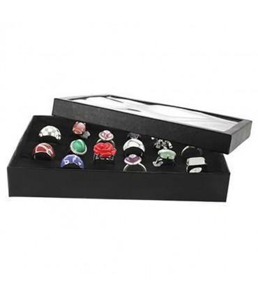 Boite à bague plateau carton avec couvercle (36 bagues) noir - Noir