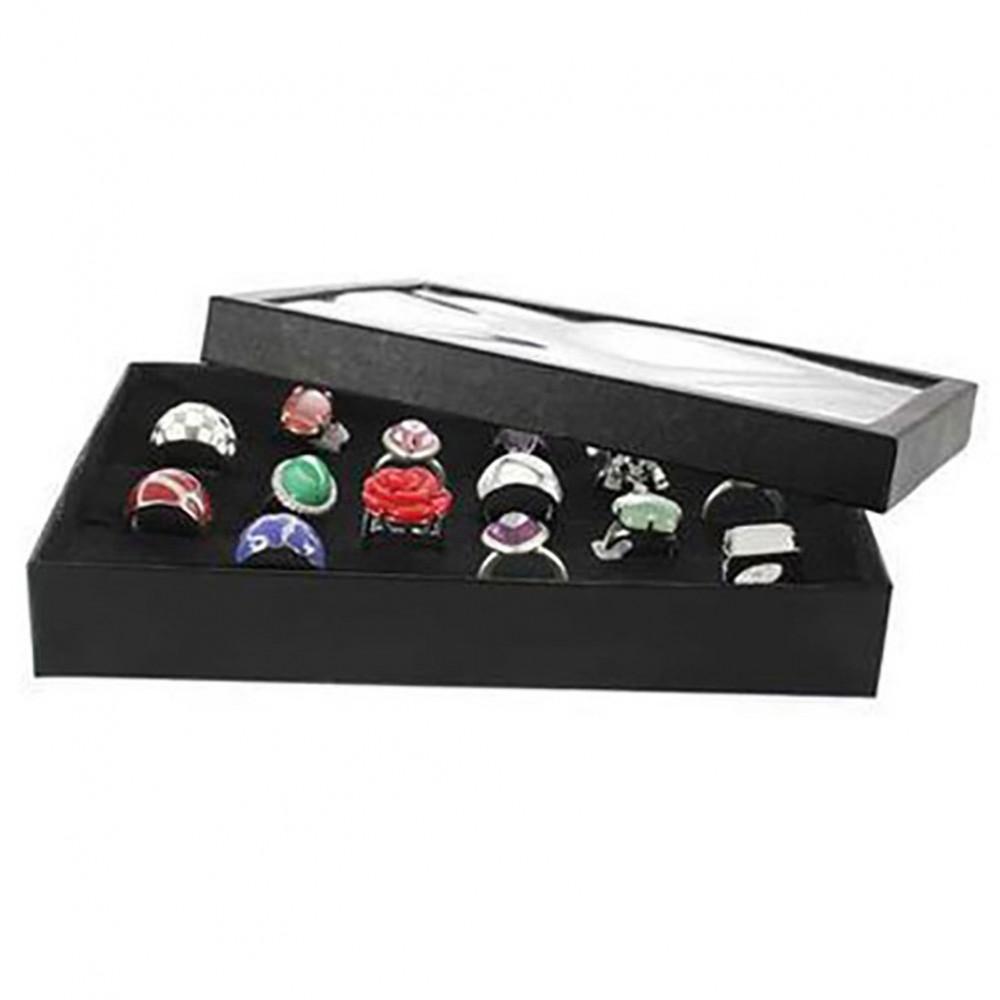 boite a bague carton noir pr sentoir pour 36 bagues avec couvercle. Black Bedroom Furniture Sets. Home Design Ideas