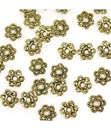 Calottes d'ornements fleurs pour perles (50 pièces) - Doré