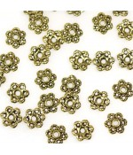 Calottes d'ornements fleurs pour perles (5 pièces) - Doré
