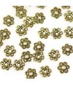 Calottes d'ornements fleurs pour perles (50 pièces)