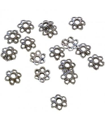 Calottes d'ornements fleurs pour perles (5 pièces) - Argenté