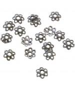 Calottes d'ornements fleurs pour perles (50 pièces) - Argenté