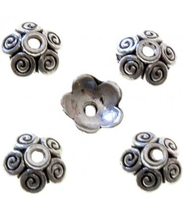 Calottes ornement perle 5 spirales (20 pièces) - Argenté