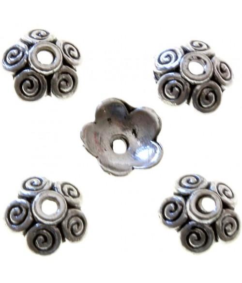Calottes ornement perle 5 spirales (5 pièces)