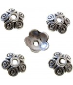 Calottes ornement perle 5 spirales (5 pièces) - Argenté