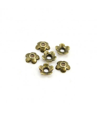 Calottes ornement perle Minifleurs (10 pièces) - Bronze
