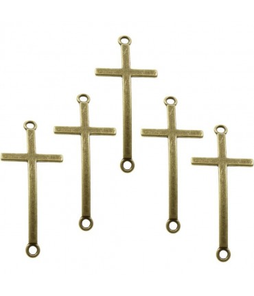 Connecteurs bracelets Croix (5 pièces) - Bronze