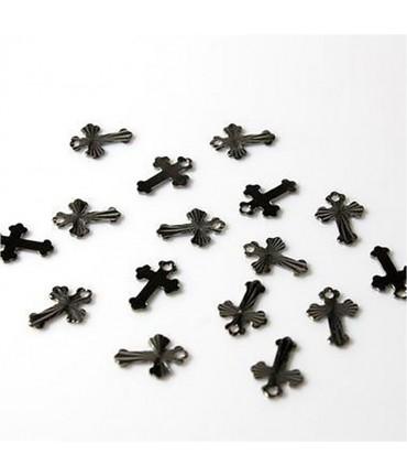 Breloque pendentif Croix ciselée (50 pièces) - Anthracite