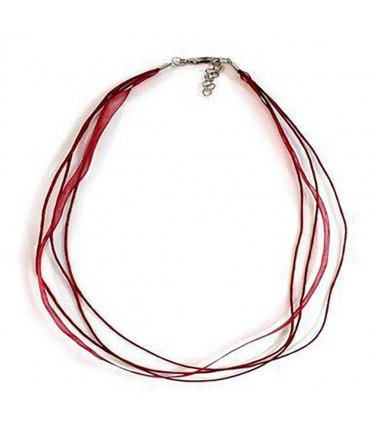 Colliers ras ou tour de cou en fil coton et organza (5 pièces) - Bordeaux
