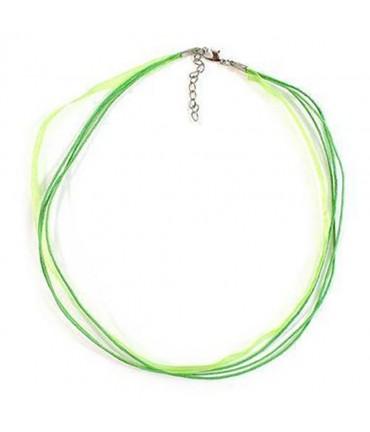 Colliers ras ou tour de cou en fil coton et organza (5 pièces) - Vert pomme