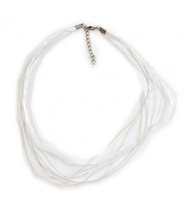 Colliers ras ou tour de cou en fil coton et organza (5 pièces) - Blanc