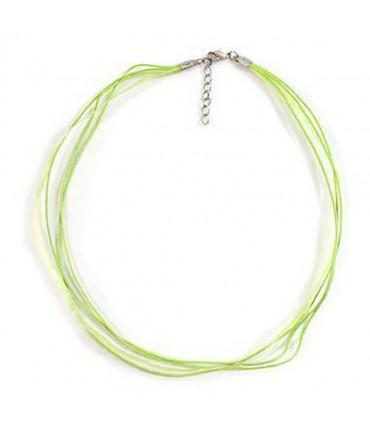 Colliers ras ou tour de cou en fil coton et organza (5 pièces) - Vert