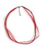 Colliers ras ou tour de cou en fil coton et organza (5 pièces) - Rouge