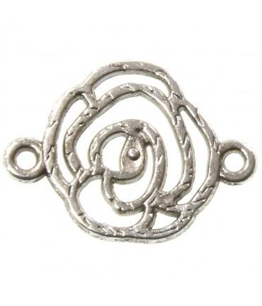 Connecteurs bijoux Fleur rose (5 pièces) - Argenté