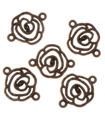 Connecteurs bijoux Fleur rose (5 pièces) - Cuivre