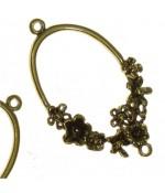 Connecteur ovale thème fleuri (5 pièces)