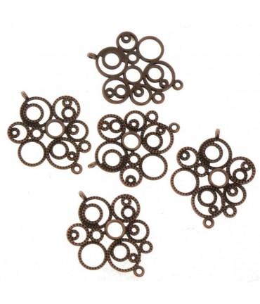 Connecteurs bijoux Bulles (5 pièces) - Cuivre