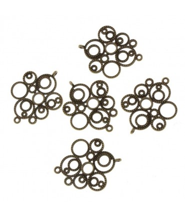 Connecteurs bijoux Bulles (5 pièces) - Bronze