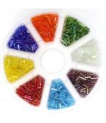 Boite de perles rocaille en verre Tubes Bugle couleurs métal argenté (3200 pièces) - Multicolore Argenté