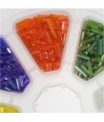 Boite de perles rocaille en verre Tubes Bugle couleurs métal argenté (3200 pièces)