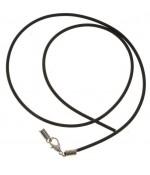 Colliers tour de cou 3 mm caoutchouc plein fermoir mousqueton (5 pièces) - Noir