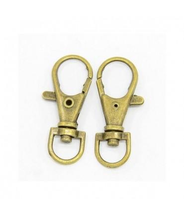Mousqueton porte clé rotatif 35 mm bronze (5 pièces)